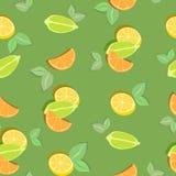 Kolorowy bezszwowy wzór z cytrusów plasterkami na zielonym tle również zwrócić corel ilustracji wektora ilustracji