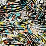 Kolorowy bezszwowy wzór z dzikimi lampartami Zdjęcia Stock