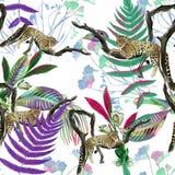 Kolorowy bezszwowy wzór z dzikimi lampartami Obrazy Royalty Free