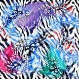 Kolorowy bezszwowy wzór z dzikimi lampartami Zdjęcia Royalty Free