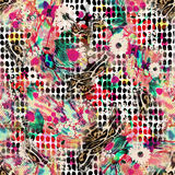 Kolorowy bezszwowy wzór z dzikimi lampartami Zdjęcie Stock