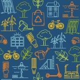 Kolorowy bezszwowy wzór z eco symbolami Obrazy Stock