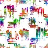 Kolorowy bezszwowy wzór z muśnięciem muska i kropki Tęczy akwareli kolor na białym tle Ręka malujący folwarczek ilustracja wektor