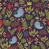 Kolorowy bezszwowy wzór z ptakami i kwiatami. Obraz Stock