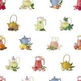 Kolorowy bezszwowy wzór z ręki rysującymi narzędziami dla warzyć herbaty i pić - szklany teapot, filiżanka, cytryna, ziele i royalty ilustracja