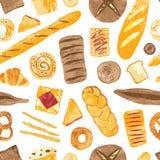 Kolorowy bezszwowy wzór z smakowitymi domowej roboty piec chlebami, babeczki, baguettes, bagels, croissants, precle, grzanki i ilustracji