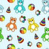 Kolorowy bezszwowy wzór z zabawkami Obrazy Royalty Free