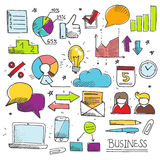 Kolorowy biznesowy doodle set royalty ilustracja