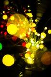 Kolorowy bokeh światło świętuje przy nocą, defocus yello lekki abstrakcjonistyczny tło Obraz Stock