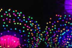 Kolorowy Bokeh z kopii przestrzenią od parka rozrywki Obrazy Royalty Free
