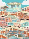 Kolorowy budynki mieszkalne Zdjęcie Royalty Free