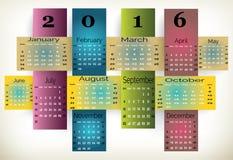 Kolorowy Calendar-2016 Zdjęcia Stock