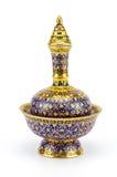 Kolorowy ceramiczny artykuły handcraft puchar odizolowywającego na białym backgroun fotografia royalty free