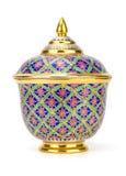Kolorowy ceramiczny artykuły handcraft puchar odizolowywającego na białym backgroun obrazy royalty free