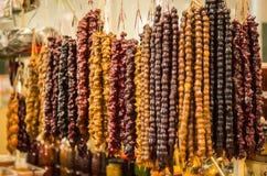 Kolorowy Churchkhela obwieszenie na rynku fotografia royalty free