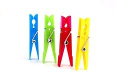 kolorowy clothespins pojedynczy Zdjęcia Royalty Free