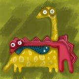 Kolorowy cyfrowy obraz dwa dinosaurus i ryba na zielonym tle Wręcza rysunkową ilustrację dla witać, urodzinowe karty ilustracja wektor