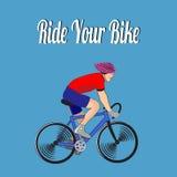 Kolorowy cyklista z inskrypcją Zdjęcie Stock