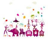 Kolorowy cyrkowy karnawałowy podróżować w jeden rzędzie na białym backgroun Zdjęcie Royalty Free