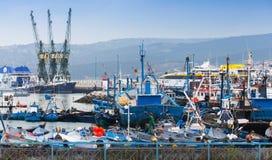 Kolorowy czerep stary port w Tangier zdjęcie royalty free