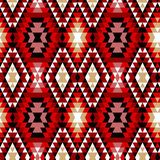 Kolorowy czerwony biały i czarny aztec ornamentuje geometrycznego etnicznego bezszwowego wzór, wektor Zdjęcie Royalty Free