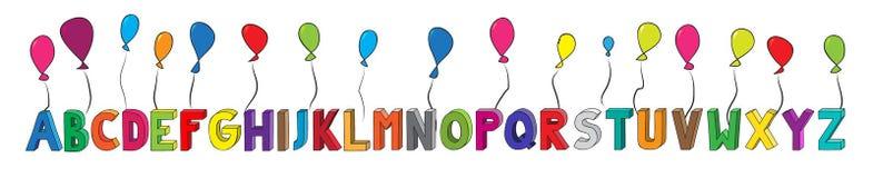 Kolorowy 3D abecadło od listu A Z z balonami w horyzontalnej pozyci Obrazy Stock