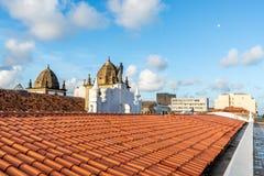 Kolorowy dachu widok przy Alfandega Bund, Recife, Pernambuco, Brazylia zdjęcie stock