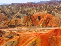Kolorowy Danxia terenoznawstwo, Zhangye, Gansu, Chiny zdjęcie stock
