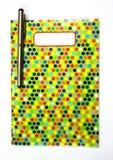 Kolorowy deseniowy notatnik z piórem Obrazy Stock