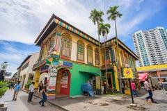Kolorowy dom Dębny Teng Niah w Małym India, Singapur Obraz Stock