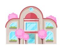 Kolorowy dom na wsi, rodzinna chałupa, dworu odtwarzanie, nieruchomość royalty ilustracja