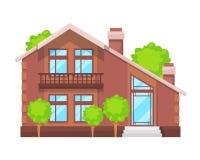 Kolorowy dom na wsi, rodzinna chałupa, dworu odtwarzanie, nieruchomość ilustracja wektor