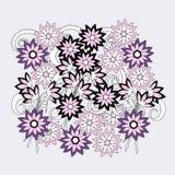 Kolorowy doodle skład kwiaty ilustracja wektor