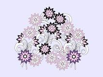 Kolorowy doodle skład kwiaty royalty ilustracja