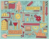 Kolorowy doodle ustawia z budową, projektem i mechanizmem, Zdjęcia Stock