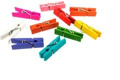 Kolorowy drewniany clothespin odizolowywający fotografia stock