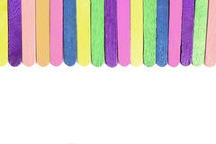 Kolorowy drewniany kij umieszczający lody ordynans obraz stock