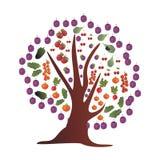 Kolorowy drzewo z owoc i warzywo ilustracja wektor