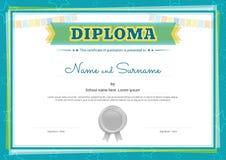 Kolorowy dyplomu świadectwa szablon dla dzieciaków ilustracja wektor