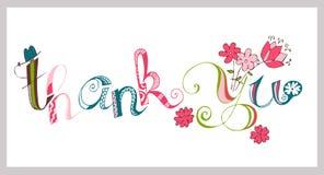 Kolorowy dziękuje ciebie wręczać literowanie Handmade kaligrafia Zdjęcia Stock