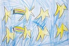 Kolorowy dzieciaka ` s rysunek mknące gwiazdy w niebieskim niebie Obrazy Royalty Free