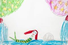 Kolorowy dzieciaka ` s rysunek syrena lub syrenka w wodzie z copyspa Zdjęcia Royalty Free