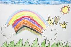 Kolorowy dzieciaka ` s rysunek tęcza Fotografia Stock