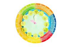 Kolorowy dziecka handwork zegar zdjęcie stock