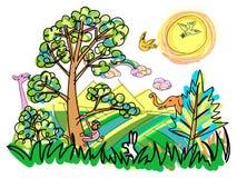 Kolorowy dziki z zwierzęciem doodle kreskówki styl Obrazy Stock