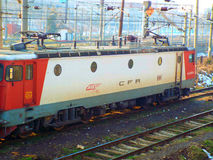 Kolorowy elektryczny pociąg w Bucharest Obrazy Royalty Free