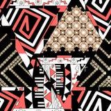 Kolorowy etniczny bezszwowy wzór patchwork Beż, czerwień, biały ornament na czarnym tle ilustracja wektor