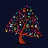 Kolorowy etniczny ręka druku drzewo ilustracja wektor