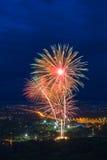 Kolorowy fajerwerku pokaz przy Chiangmai Obraz Royalty Free