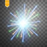 Kolorowy fajerwerku wybuch na przejrzystym tle Biel, złoto i żółci światła, Nowy Rok, urodziny i wakacje, Obrazy Stock